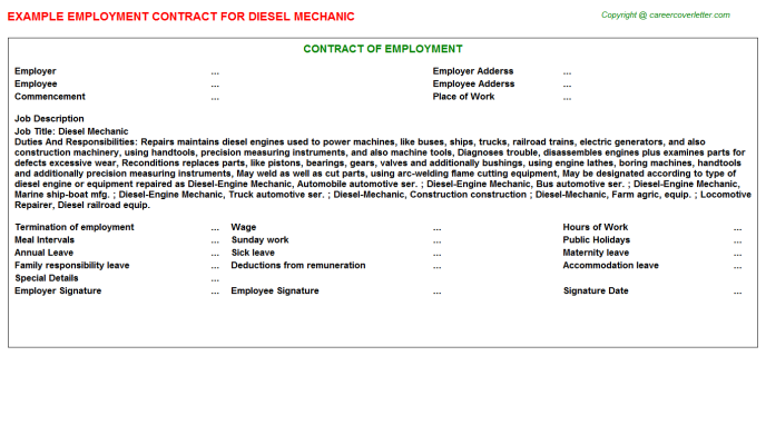 Diesel Mechanic Employment Contract Template