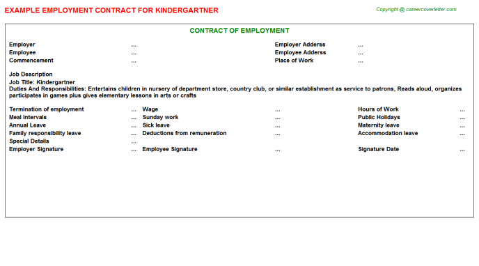 Kindergartner Job Employment Contract Template