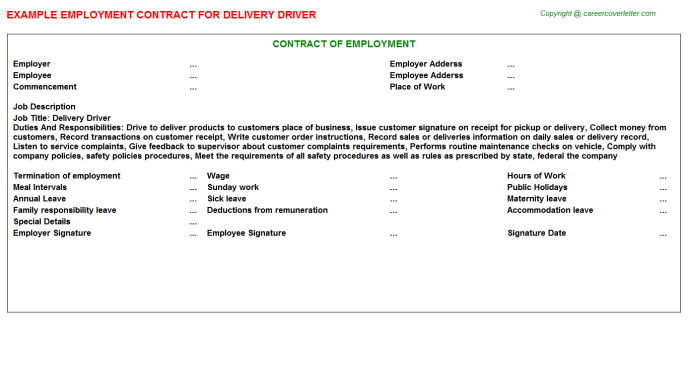 Delivery Driver Employment Contract Template