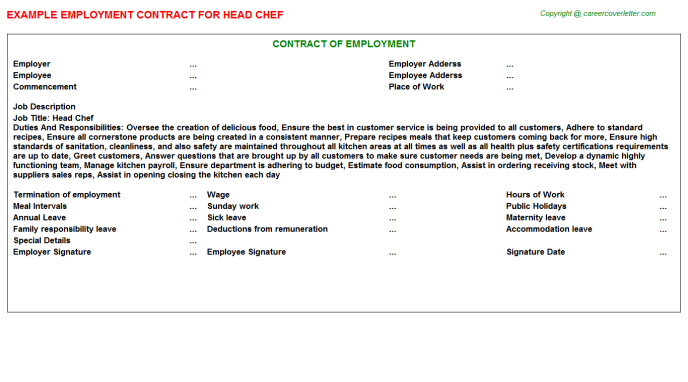 Head Chef Employment Contract Template