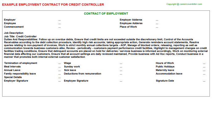 Credit Controller Employment Contract Template