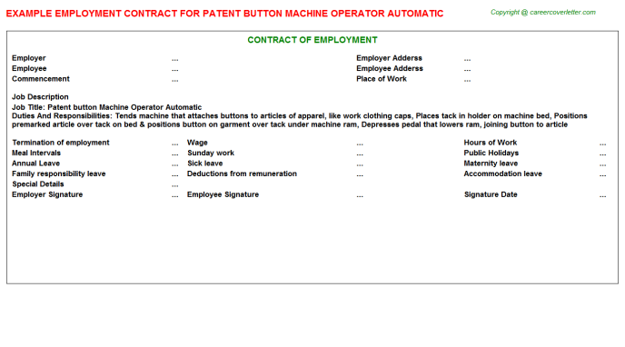 patent button machine operator automatic employment contract template