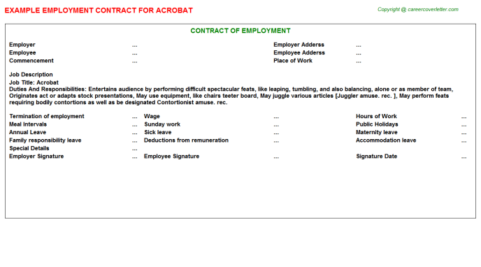 Acrobat Employment Contract Template