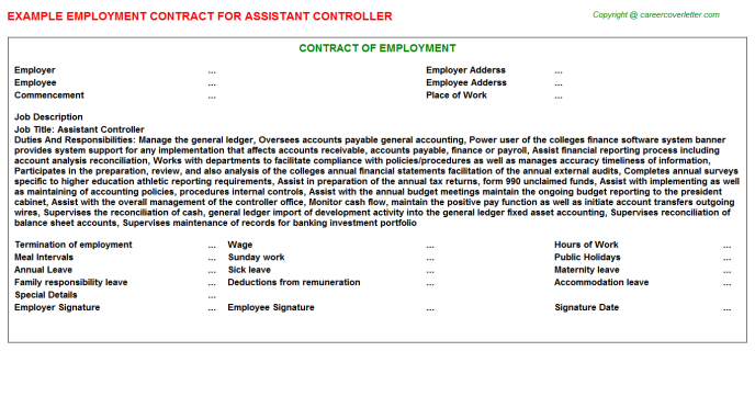 Assistant Controller Employment Contract Template