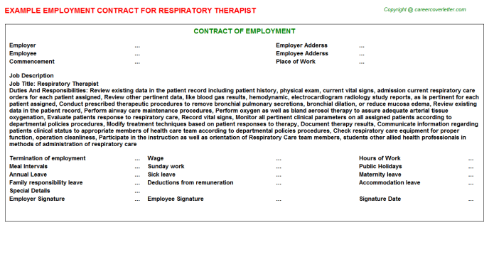 Respiratory Therapist Employment Contract Template