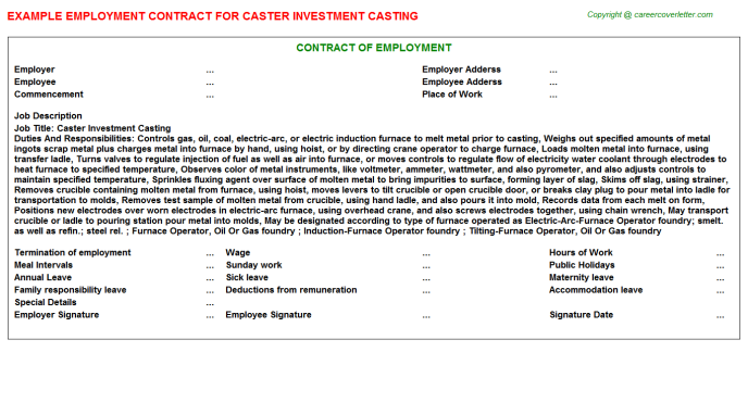 Caster Investment Casting Employment Contract Template