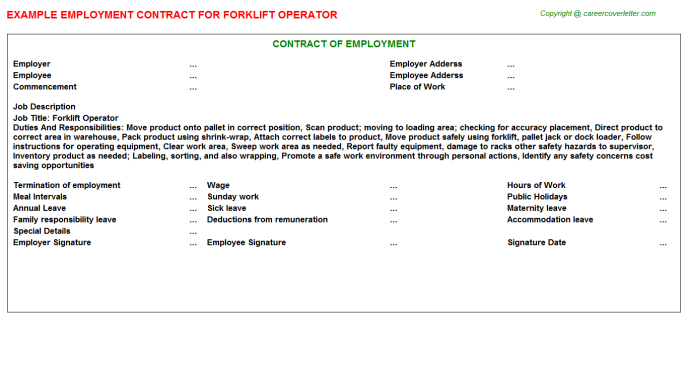 Forklift Operator Employment Contract Template