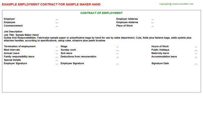Sample Maker Hand Employment Contract Template