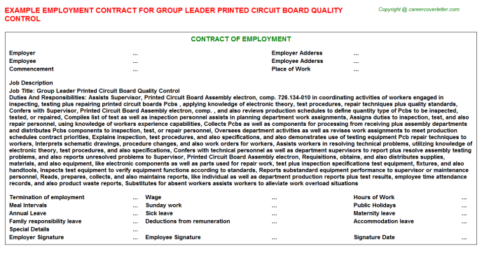 Group Leader Printed Circuit Board Quality Control Employment Contract Template