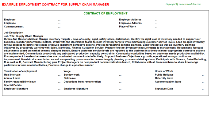 Supply Chain Manager Employment Contract Template