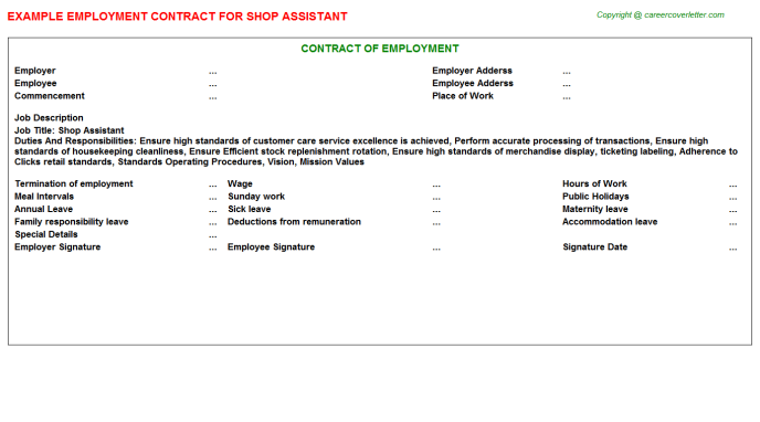 Shop Assistant Employment Contract Template