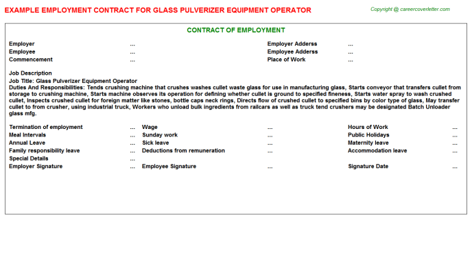 Glass Pulverizer Equipment Operator Employment Contract Template