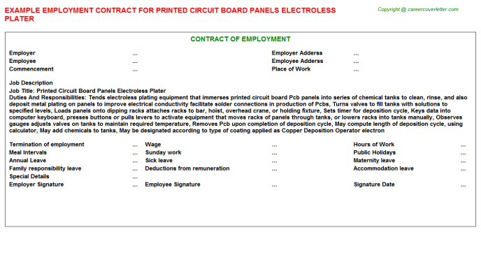 printed circuit board panels electroless plater employment contract template