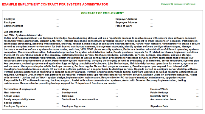 Systems Administrator Employment Contract Template