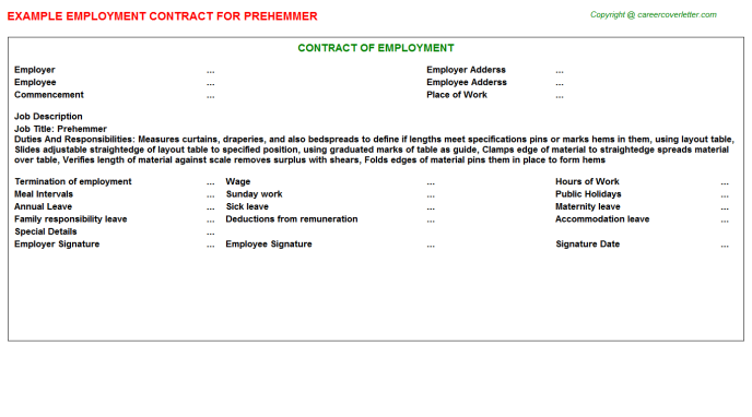 Prehemmer Employment Contract Template