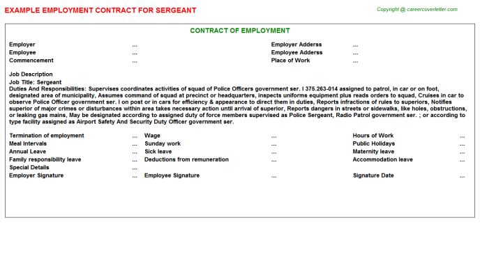 Sergeant Employment Contract Template