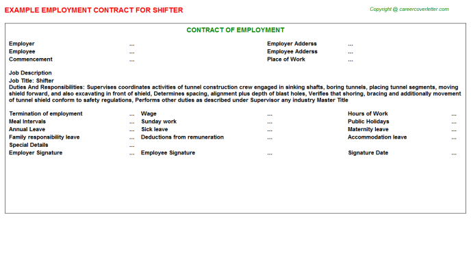 Shifter Employment Contract Template
