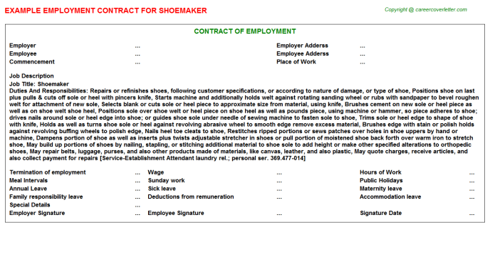 Shoemaker Employment Contract Template
