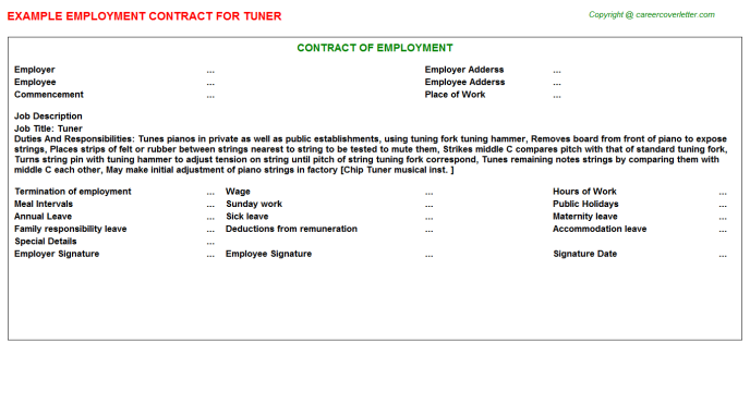 Tuner Job Employment Contract Template