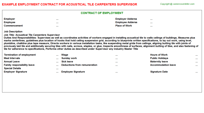 Acoustical Tile Carpenters Supervisor Employment Contract Template