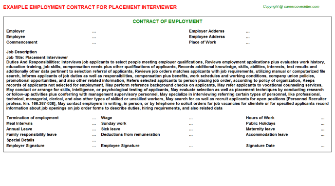 Placement Interviewer Employment Contract Template