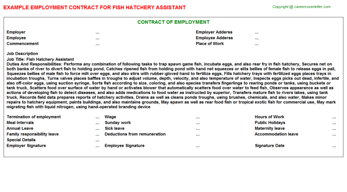 fish hatchery assistant employment contract template