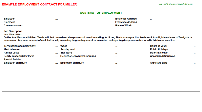 Miller Employment Contract Template