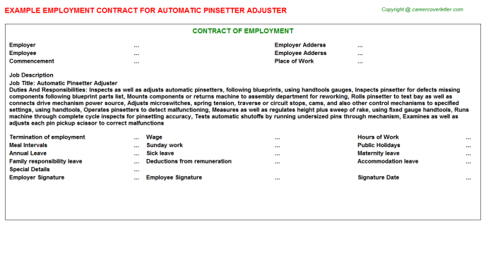 Automatic Pinsetter Adjuster Employment Contract Template