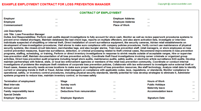 Loss Prevention Manager - Free Doc Format Templates Downloads
