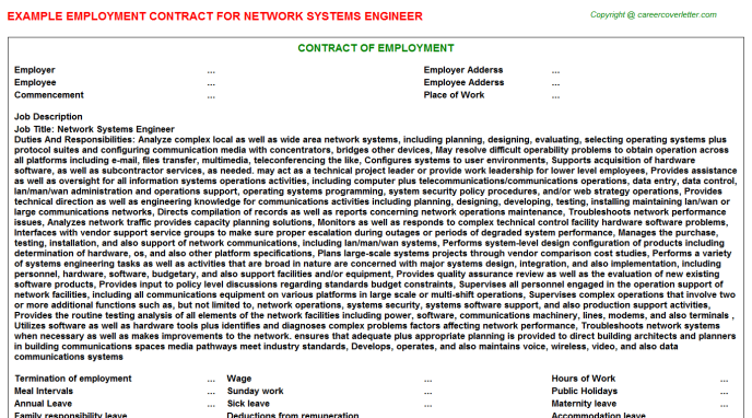 Network systems engineer job employment contract (#25417)