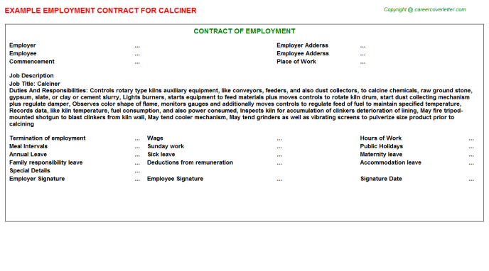 Calciner Employment Contract Template
