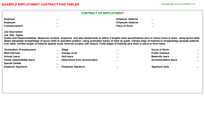Tabler Employment Contract Template