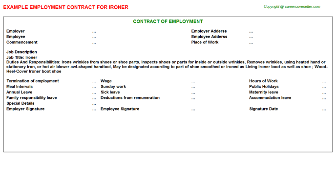 Ironer Job Employment Contract Template