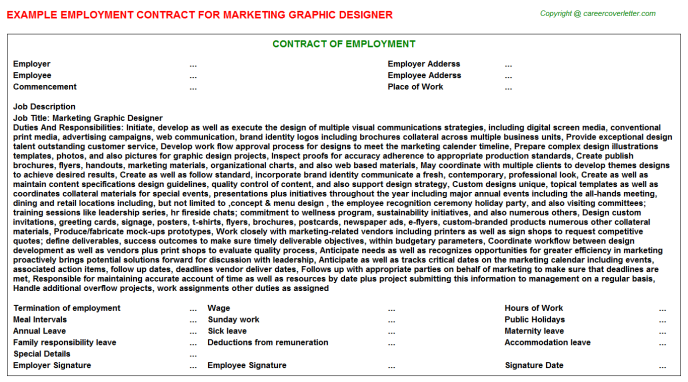 Marketing Graphic Designer Employment Contract Template