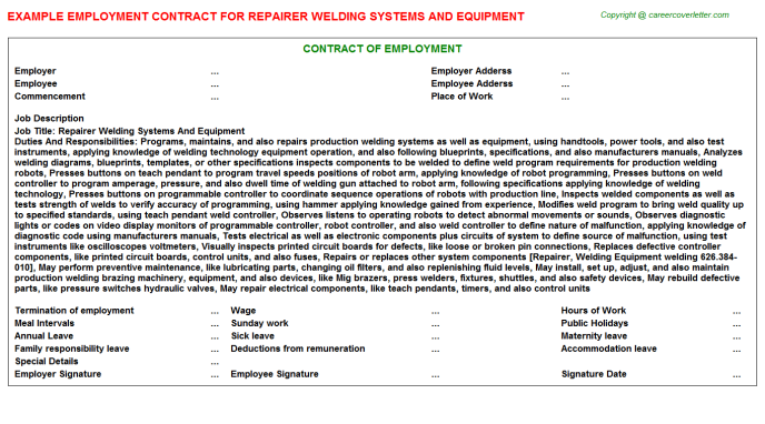 Repairer Welding Systems And Equipment Employment Contract Template