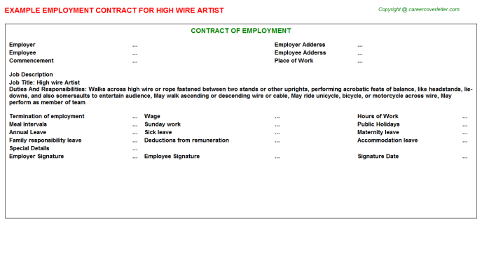High wire Artist Employment Contract