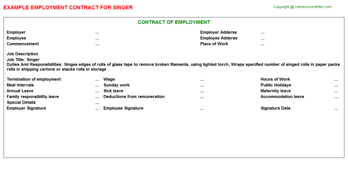 Singer Employment Contract Template