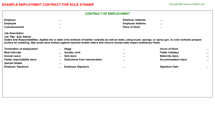 Sole Stainer Employment Contract Template