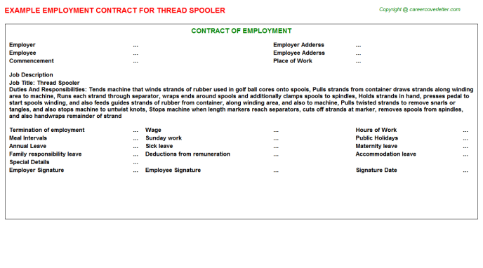 Thread Spooler Employment Contract Template