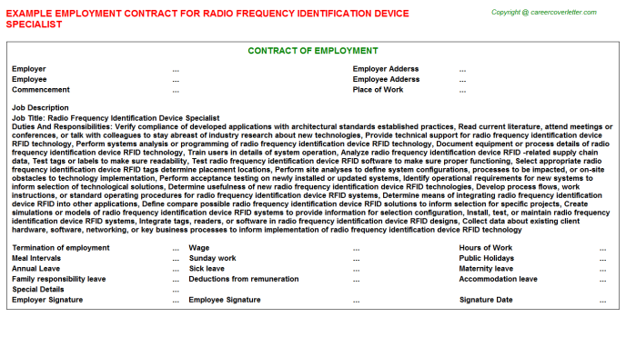 Radio Frequency Identification Device Specialist Employment Contract Template