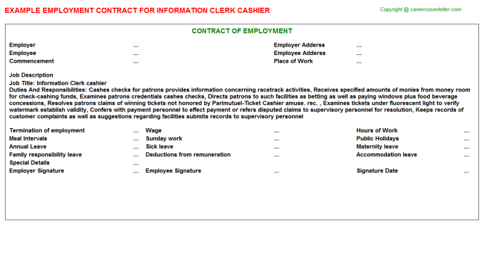 information clerk cashier employment contract template