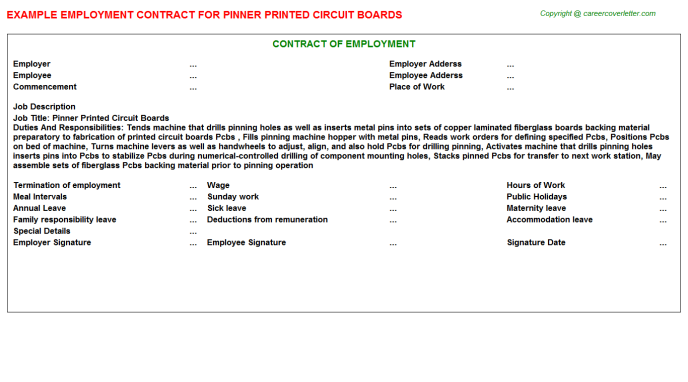 Pinner Printed Circuit Boards Employment Contract Template