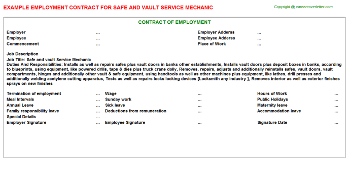 Safe And Vault Service Mechanic Employment Contract Template