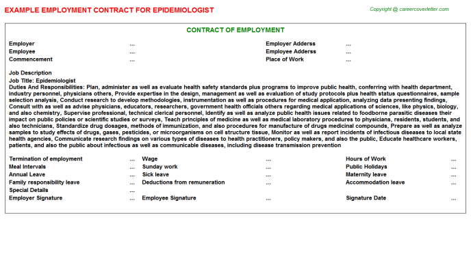 Epidemiologist Job Employment Contract Template