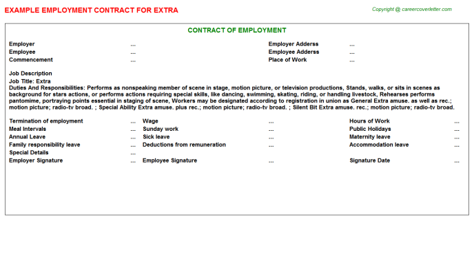 Extra Employment Contract Template