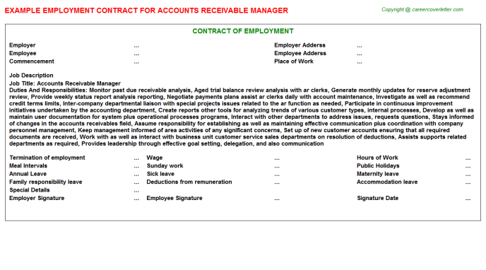 Accounts Receivable Manager Employment Contract Template