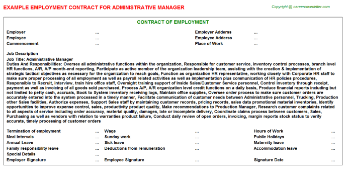 Administrative Manager Employment Contract Template