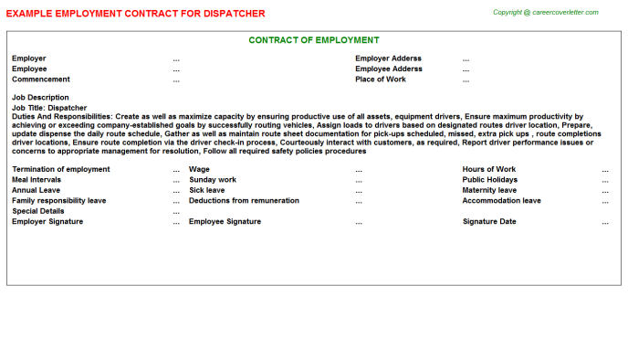 Dispatcher Employment Contract Template