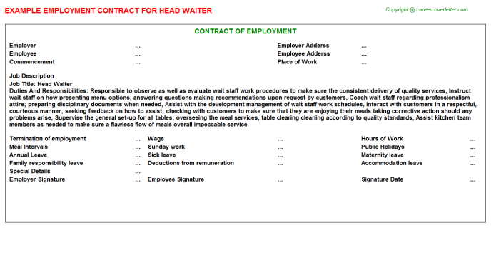 Head Waiter Employment Contract Template