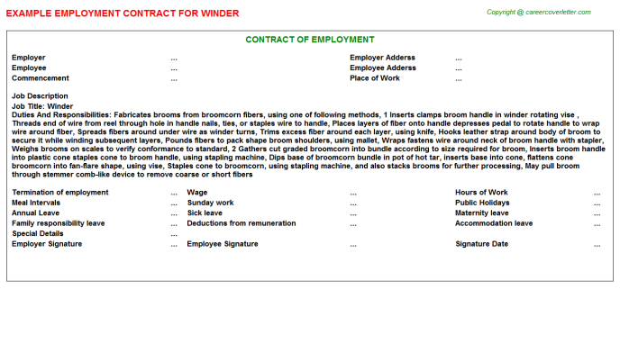 Winder Job Employment Contract Template